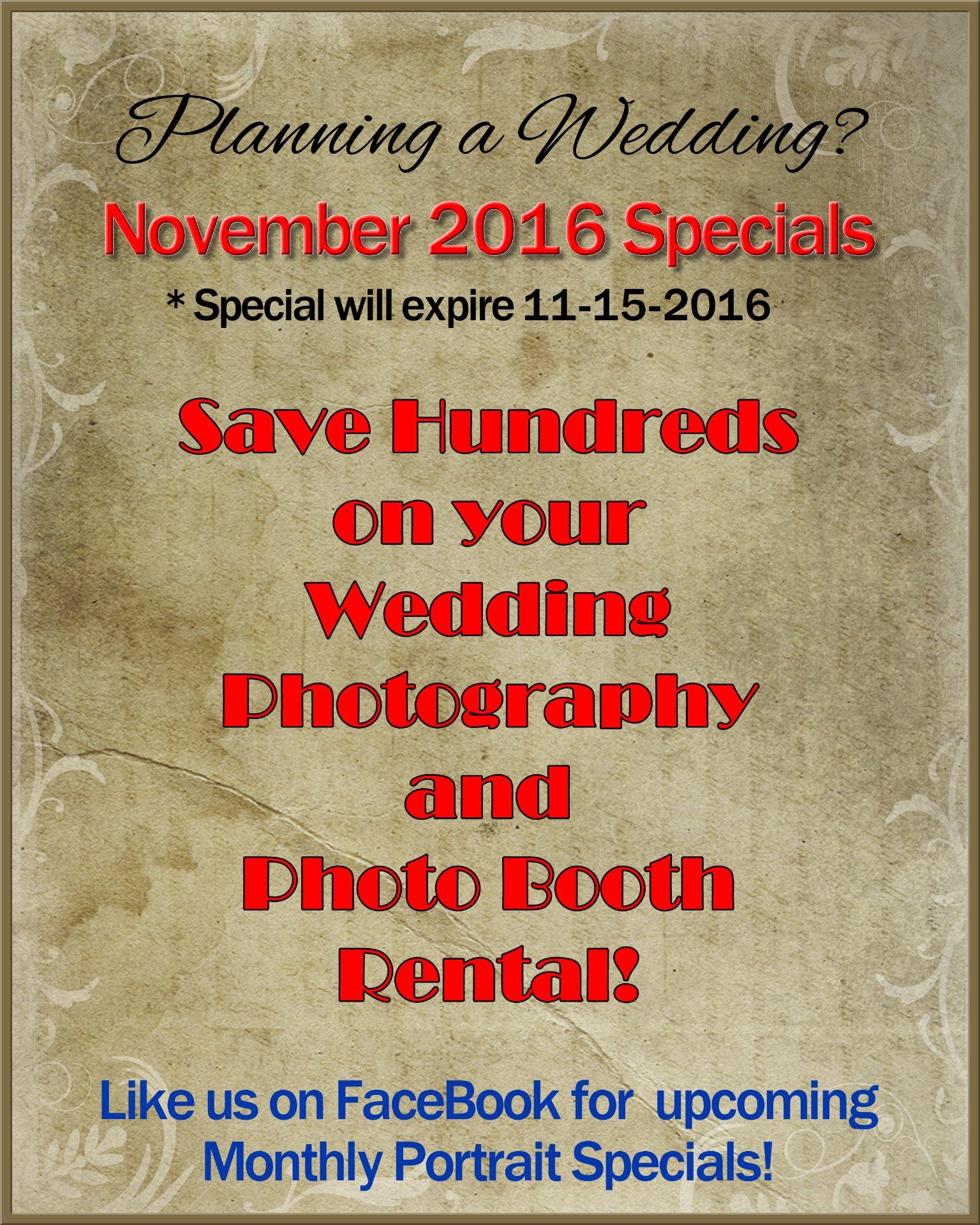 November Wedding Specials page